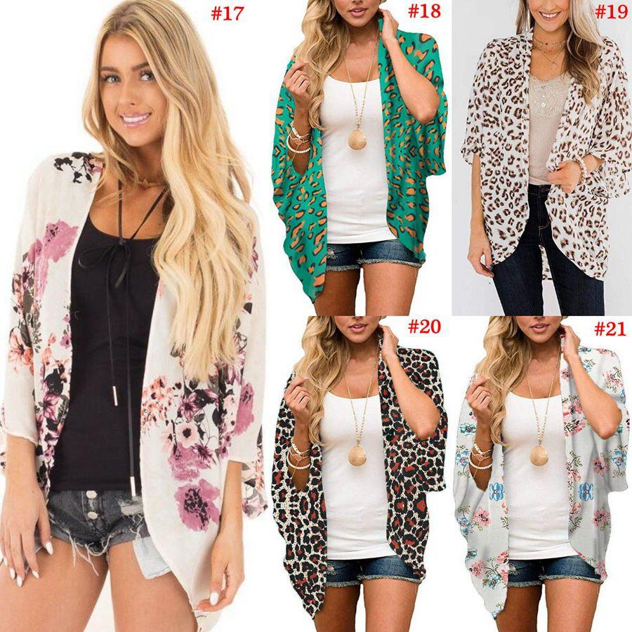 Chiffon Beach Cardigan Summer Women Boho Cover Up Lace Floral Cardigans Digital Printed Kimono Chiffon Blouse Maternitt Tops LJJO8130