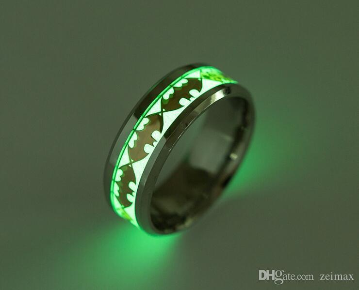Mens Ring Luminous Batman Ringe für Männer-Schwarz-Gold-Silber-Edelstahl-Frauen Ringe Glow In The Dark Male Ring Schmuck