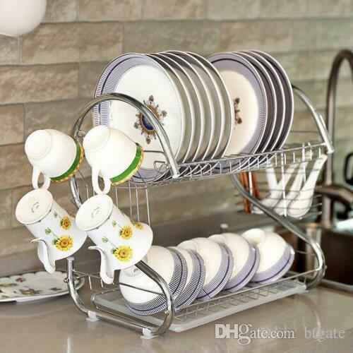 Новые многофункциональные Двойные слои Миски Посуда Палочки Ложки Коллекция Полка Dish Drainer кухни нержавеющей стали для хранения Silver
