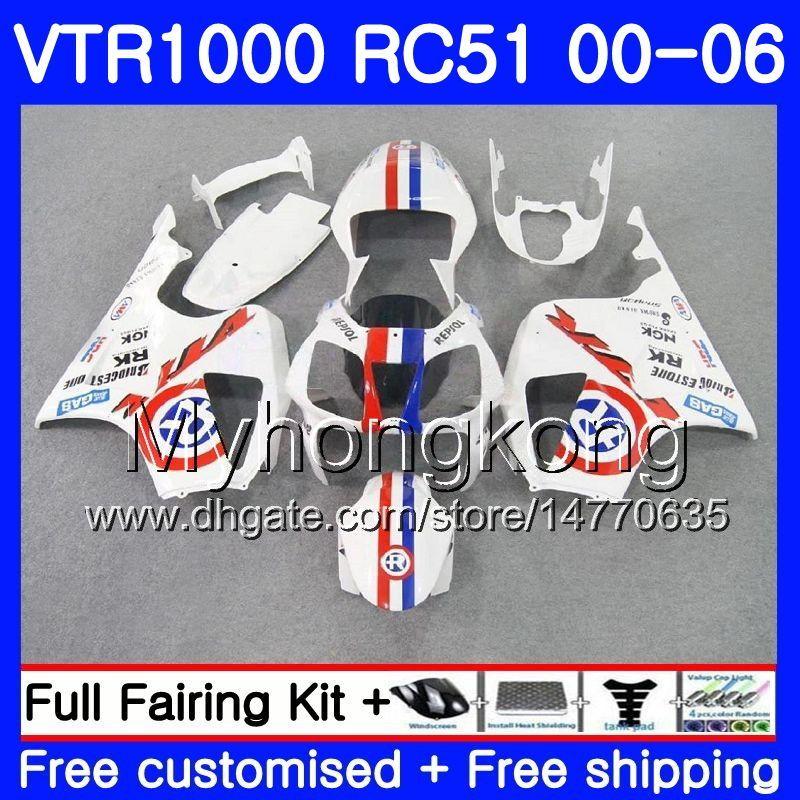 Kit For HONDA VTR1000 RC51 SP1 SP2 00 01 02 03 04 05 06 Blue R white 257HM.15 RTV1000 VTR 1000 2000 2001 2002 2003 2004 2005 2006 Fairing