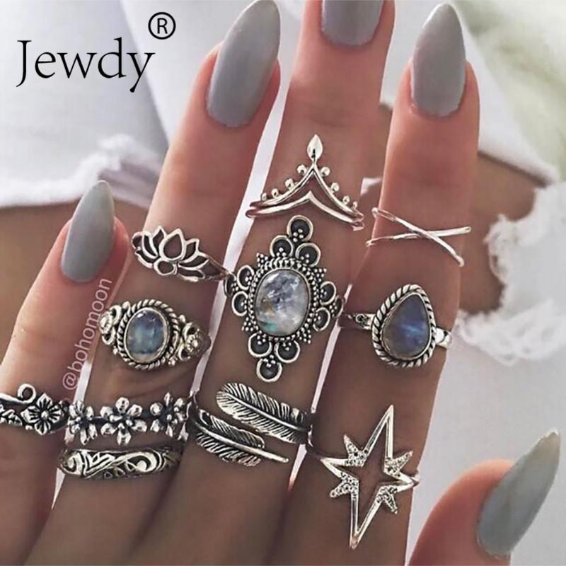 anéis boho Jewdy prata cor anéis de cristal midi definir Knuckle jóias 10pcs / folha muito geométrica Gypsy Set