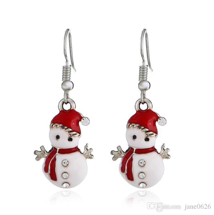 Donne creativo Orecchini di Natale degli orecchini di modo hristmas del pupazzo di neve orecchini per matrimoni parti trasporto libero del regalo