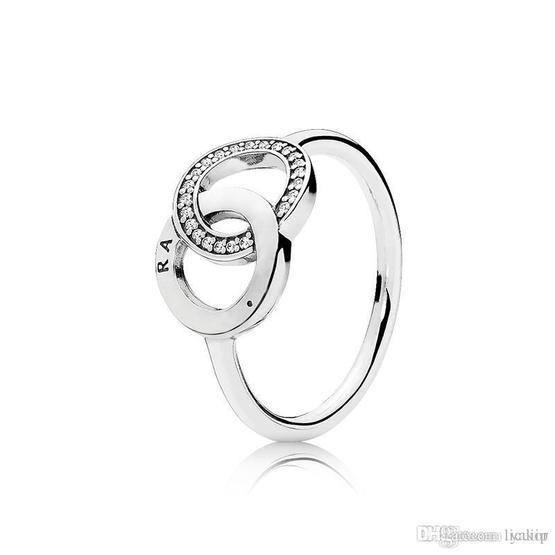 جديد أزياء المرأة CZ الماس الزفاف RING مجموعة صندوق الأصل لباندورا 925 خواتم فضة هدية مجوهرات