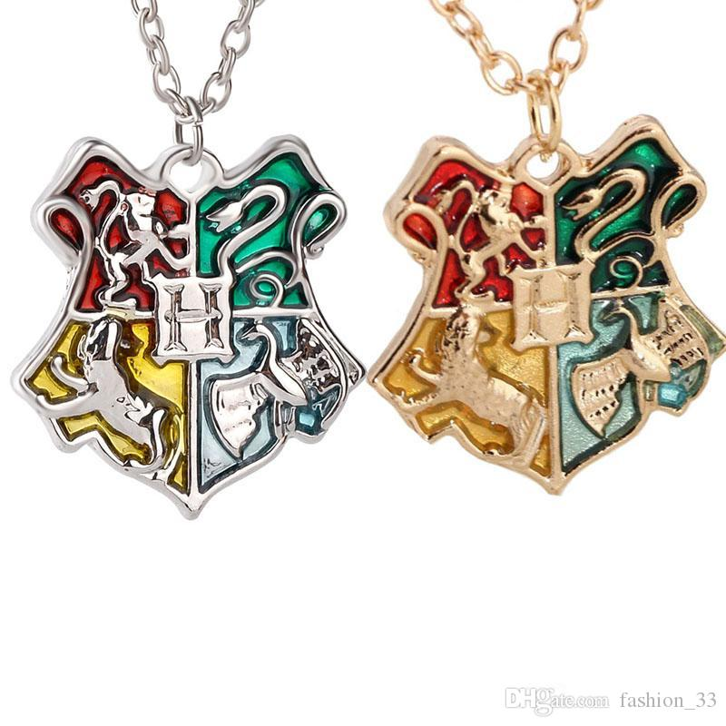 Harry Book Hogwarts Badge Necklace Gold wizard academy College Pendant Chains Potter Fashion Jewelry for Women Men drop shipping YD0216