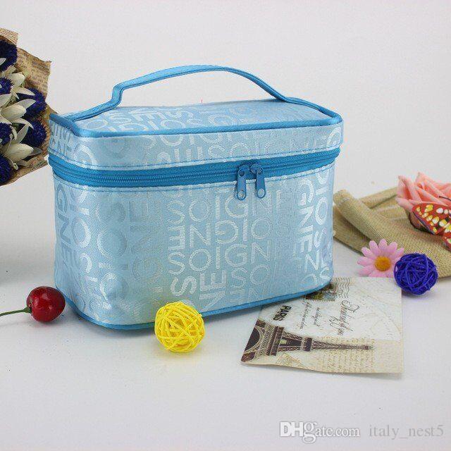 الجملة حقيبة ماكياج المحمولة أكياس سعة كبيرة غسل مربع مع حقيبة مستحضرات التجميل المنظم رسالة
