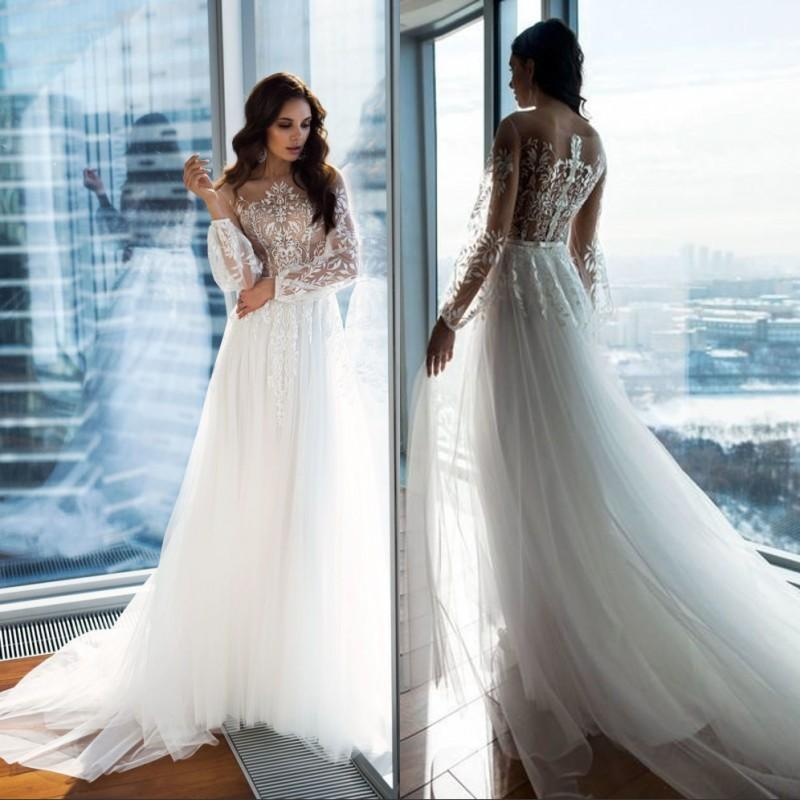 2020 New Wedding Dresses Beach A-line Wedding Dress Maternity Pregnant Bridal Gowns Long Sleeve White Lace Boho