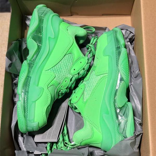 2019 17 36 45 Moda Paris Fw Triple-s Green Sneaker escuro Triplo Casual Dad For Men S Mulheres Bege Preto Tennis Sports - sapatos ao ar livre