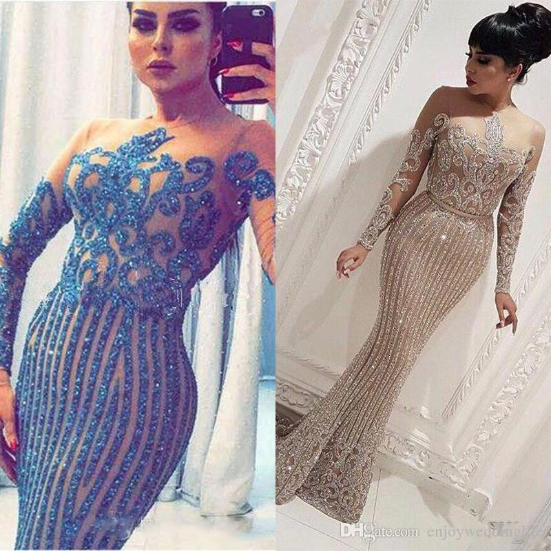 Luxury Gold Sequin Mermaid Arabic Dubai Evening Dresses 2020 Formal Prom Party Gowns Plus Size Abendkleider Robe De Soiree Free Shipping
