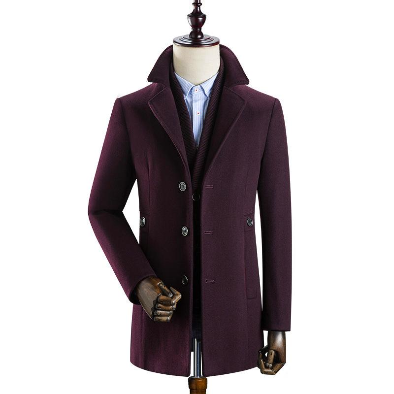 Winter men's warm woollen coat with detachable inner bladder large lapel trench coat for middle-aged men with extra bladder