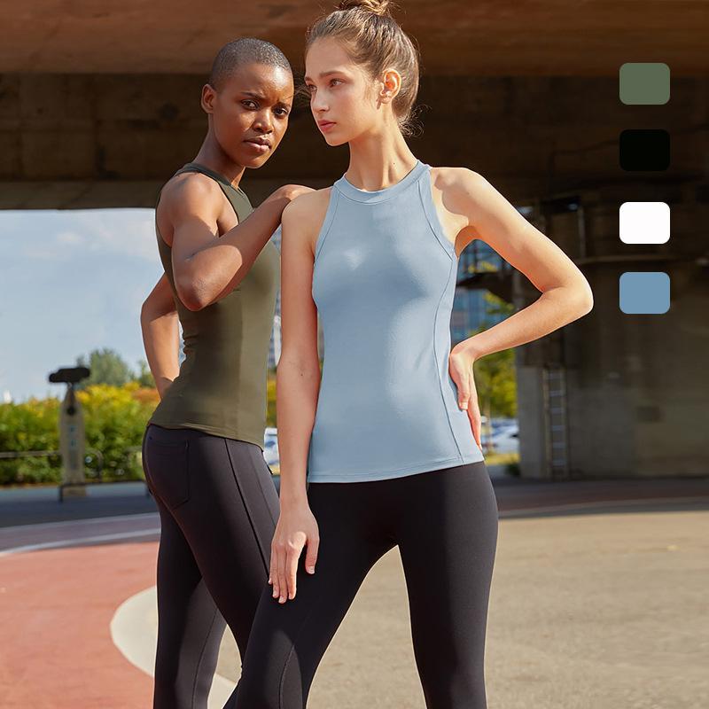 COLORVALUE sexy senza maniche Yoga Canotta Fast Dry Abbigliamento fitness sottili elastici Donne allenamento Top Fitness con Built-in Bra