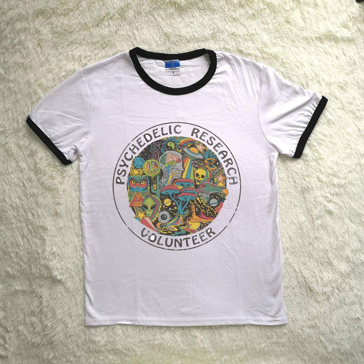 Hillbilly nouvel été manches courtes recherche psychédélique volontaire imprimé T-shirt femme Vintage T-shirt des années 90 fille Casual Toptees Y19042501