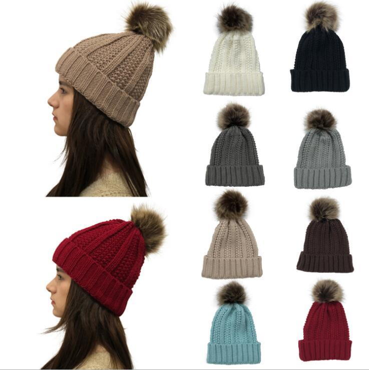 Women Pom Pom Beanie 9 Colors Outdoor Winter Warm Fur Ball Hat Skullies Beanie Solid Knit Crochet Cap OOA7112