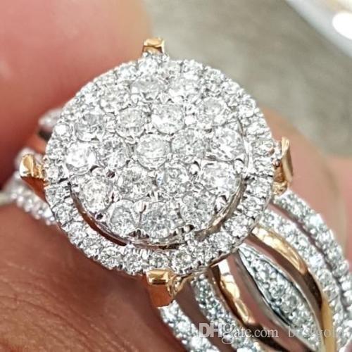 14K Rose Gold Diamond Princess Bagues de fiançailles pour femmes Bijoux de mariage Anneaux accessoires de mariage Taille 6-10 Livraison gratuite