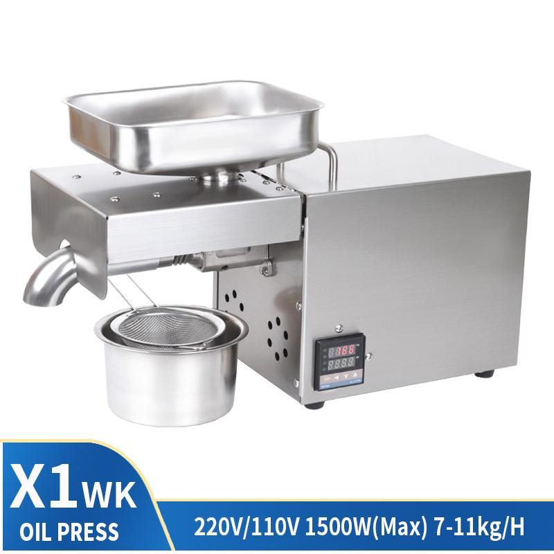 Huile Presse commerciale pleine automatique à froid Presse à chaud huile électrique presse X1 Affichage numérique Contrôle de la température 1500W (Max)