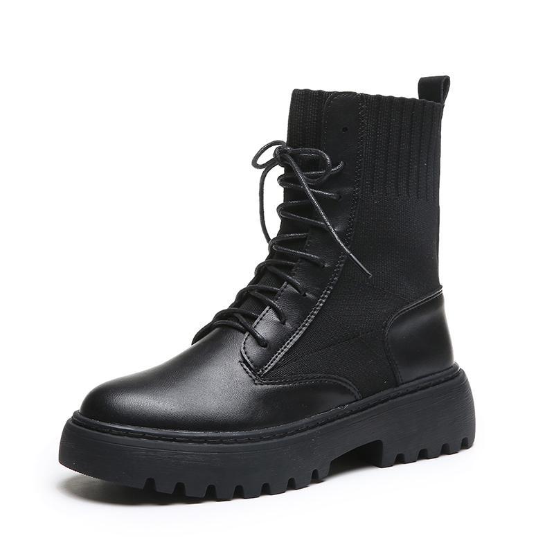 Mujeres del invierno botas de cuero tamaño 35-40 zapatos de plataforma plana botas de invierno de las mujeres de piel redonda de la manera del dedo del pie Botas de cuero con cordones de 1933 *