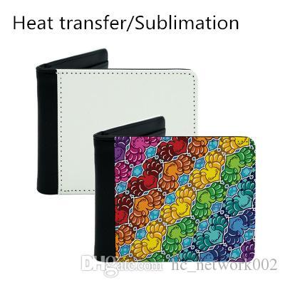 Sublimation presse chaleur portefeuille hommes portefeuille sac à main en cuir PU diy blanc argent sac le mieux pour diy personnalisé