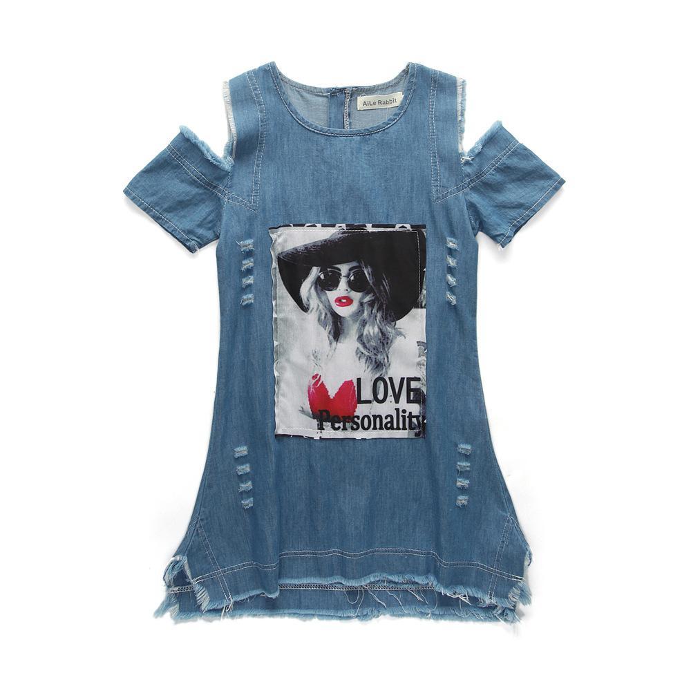 Розничная одежда для девочек из джинсовой ткани с открытыми плечами и платьем с принтом символов. Девочки повседневные юбки.