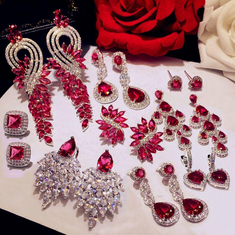Luxury Rose Red stone Long Drop Earrings Water Drop and Flower Shape Hot pink Cubic Zirconia women Party Wedding Jewelry Gift