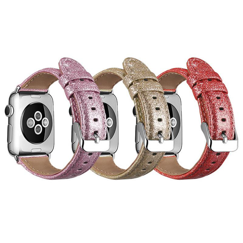 women fashion bracelet leather watch band For apple watch 1/2/3/4/5 strap for apple iwatch 38 40 4 44mm band shiny wrist accessories