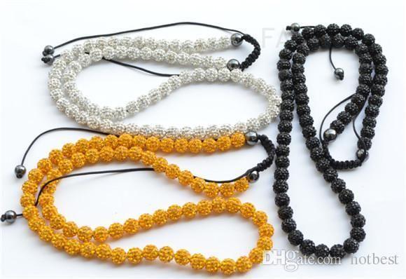 cristallo collana in oro bianco nero mix di Hotsale il migliore micro pavimenta sfera della discoteca Perline di cristallo Prezzo più basso! 10 mm per gioielli delle donne