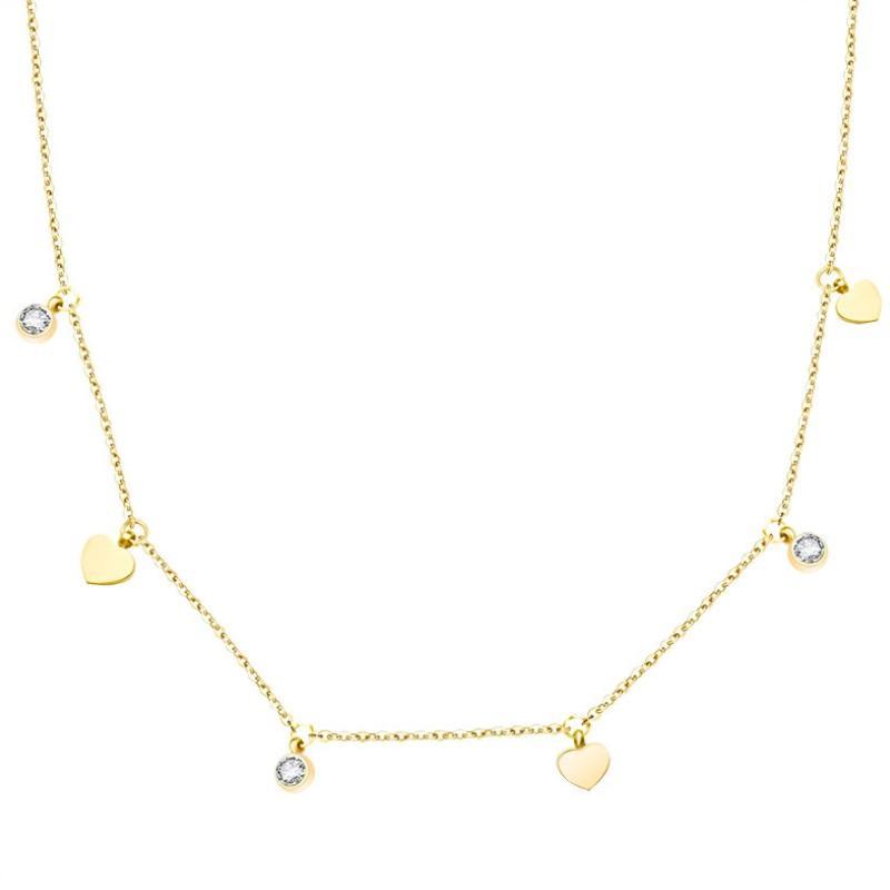 conception populaire Défilé Collier clavicule bijoux en acier de titane forage cardiaque Peach