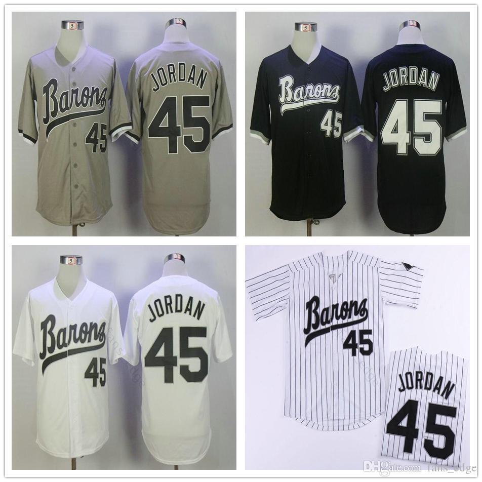 MICHAEL Jodan # 45 BIRMINGHAM BARONS Трикотажные изделия для бейсбола Mens Черный Белый Серый сшитый фильм MICHAEL Бирмингем Barons Ретро бейсбольная рубашка