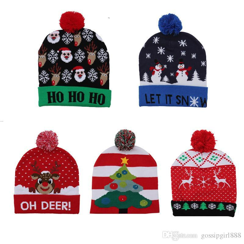 Christmas Hats with LED Light Soft Knitted Hat Santa Snowman Reindeer Christmas Hat Adult Kids Xmas Party Cap Christmas Decor