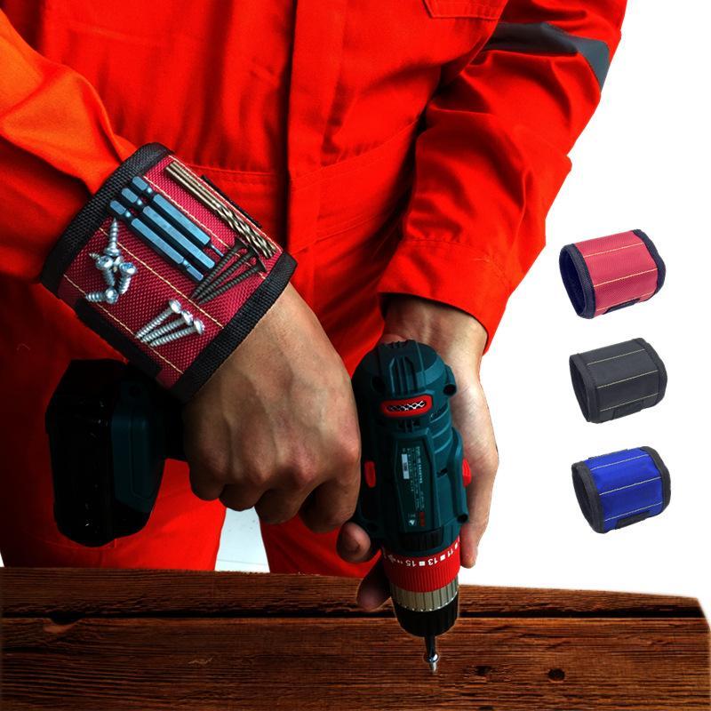 المغناطيسي الاسورة الجيب أداة حزام الحقيبة مسامير حامل أدوات القابضة الأساور المغناطيسية عملية قوية تشاك أدوات المعصم