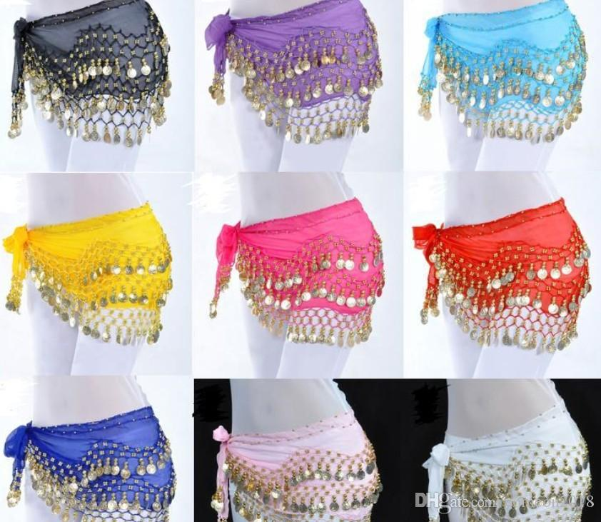 2019 Designer Women Clothes Women Dresses 3 Rows 128 Coins Woman Belly Dance Hip Scarf Belly Costume Hip Skirt Scarf Waist Chain Decoration