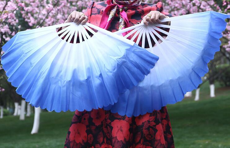 "1 Pair 42cm(16.53"") Women Belly Dance Fan Veil Plastic Floding Fan Folk Dancer Hand Extra Thick Gradient Color Free Shipping"