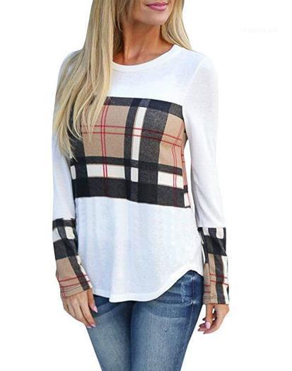 Manches T-shirt imprimé à carreaux Marque de mode de luxe de femmes vêtements décontractés T-shirts Womens Designer longue