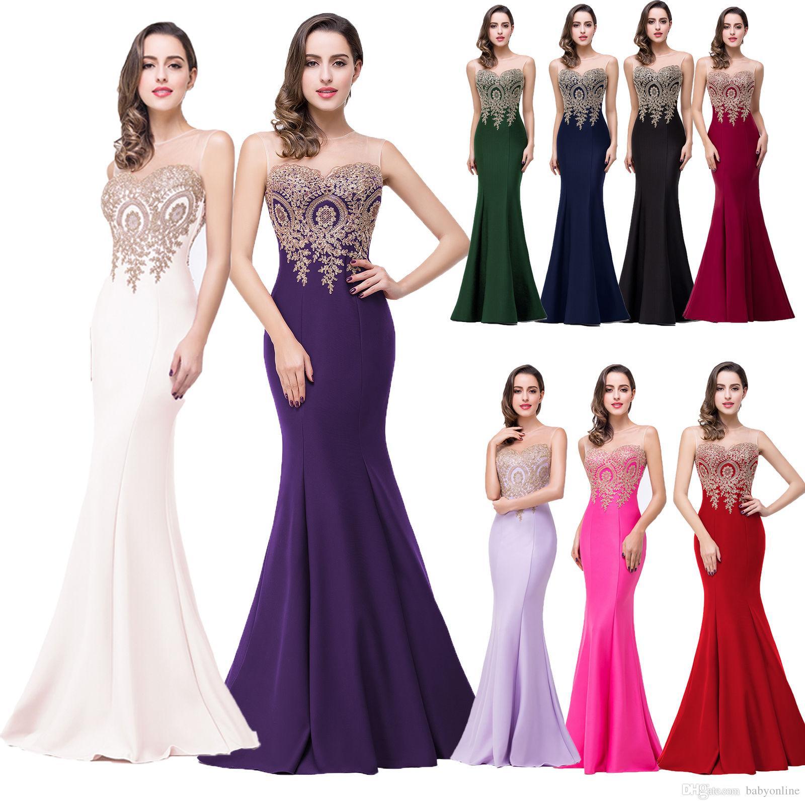 En existencia Vestidos de fiesta formales de baile baratos Apliques de oro Sheer Neck Sirenas Damas de honor Alfombra roja Vestidos de fiesta CPS262