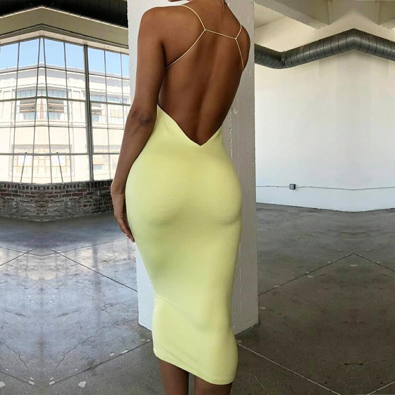 Summer Fashion New Women's Dress Solid Color Sexy Tube Top Big Back Strap Sling Bag Hip Dress Tight Step Skirt