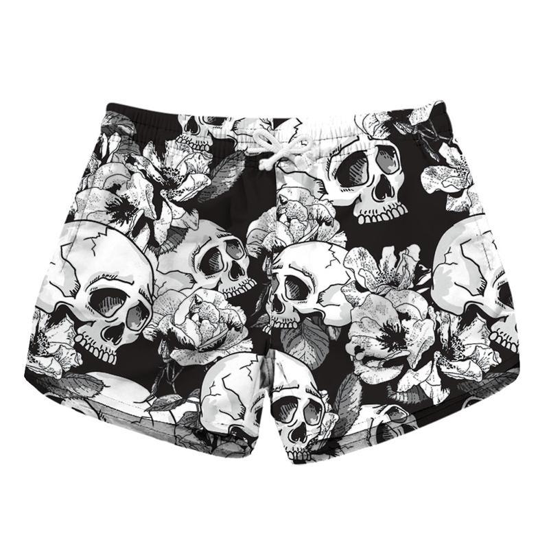 Women Short Beach Shorts Skull White Flower 3D Full Print Girl Casual Swimming Shorts Lady Digital Beach Pants Boardshort (RLLbp-6023)