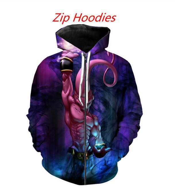 New Fashion Zipper Sweats à capuche Dragon Ball Z Buu drôle 3D Imprimer Sweats à capuche zippé Sweat Hommes / Femmes Harajuku Tenues Hauts QR027