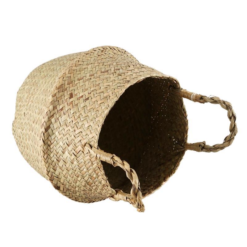 Seagrass Wickerwork Basket Rattan Foldable Hanging Flower Pot Planter Woven Dirty Laundry Hamper Storage Basket Home Decor Size