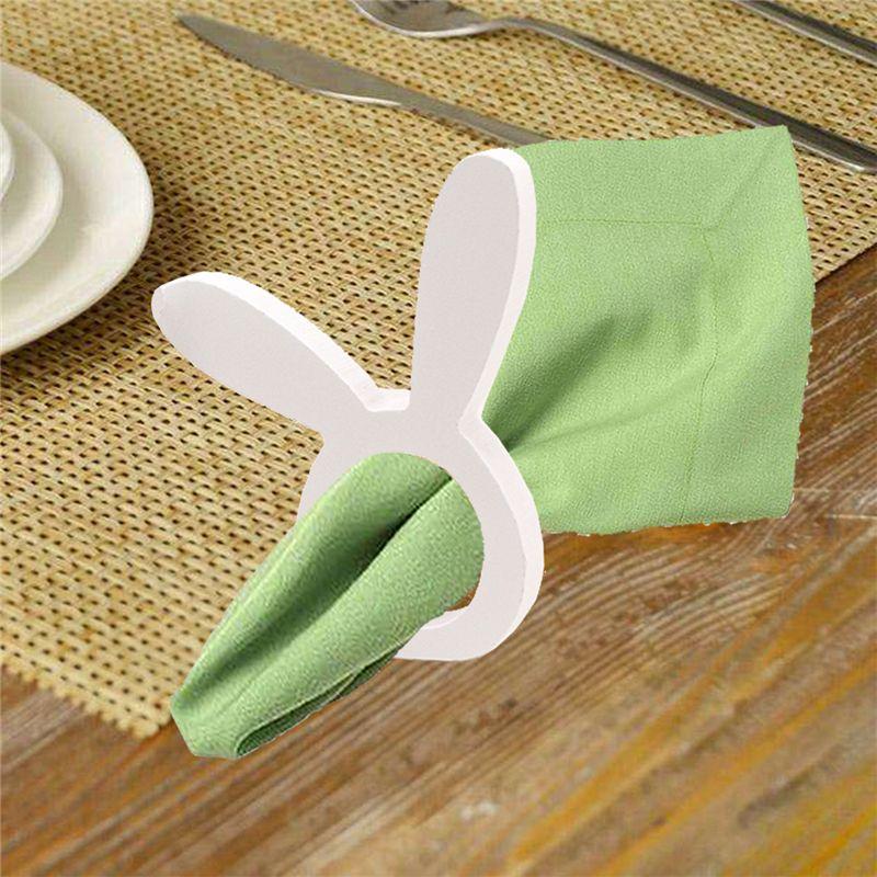 Bois Lapin serviette Anneaux table décoration fête le jour de Pâques Porte-serviette serviette Boucle Pour Fête de Pâques JK2002