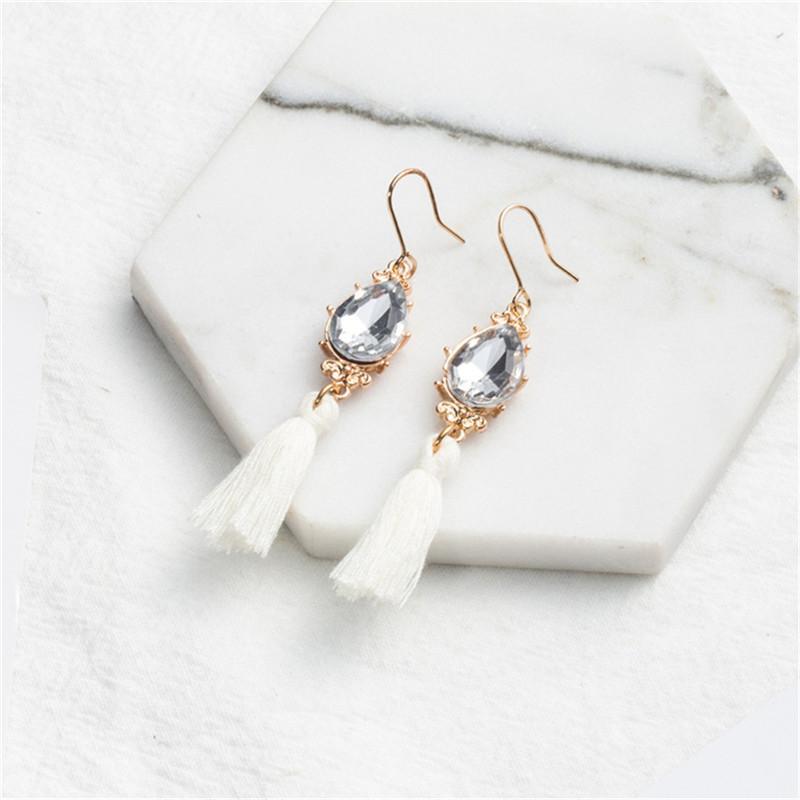Fatto a mano lungo bianco della nappa orecchini Bohemian Bianco cristallo ciondola orecchini di goccia per i monili delle donne