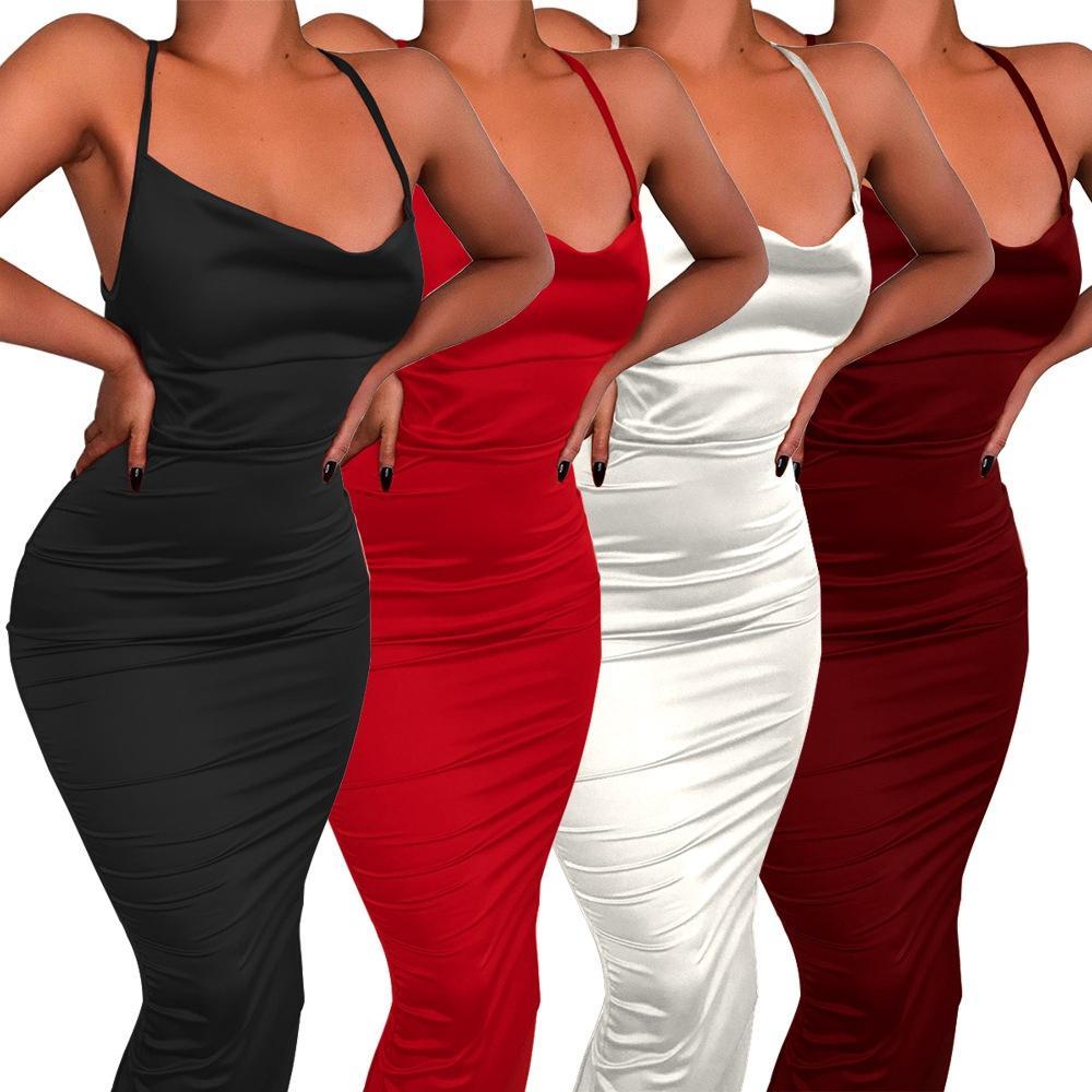 2020 Party Night New Sexy Vestido Bodycon Roupa Mulheres vestidos de verão Vestidos de festa de noche clube elegante vermelho / vestido preto