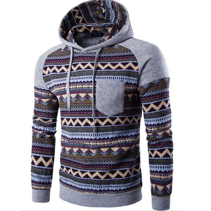 2019 Hip Hop invierno para hombre de manga larga con capucha sudaderas con capucha remiendo Impreso masculino Sportwear invierno de chándal con capucha por mayor