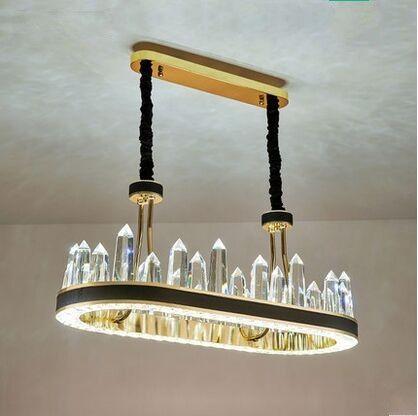 cocina NUEVA LED Lámpara moderna lámpara de cristal rectangular de diseño moderno de cuero creativa comedor MYY lámpara