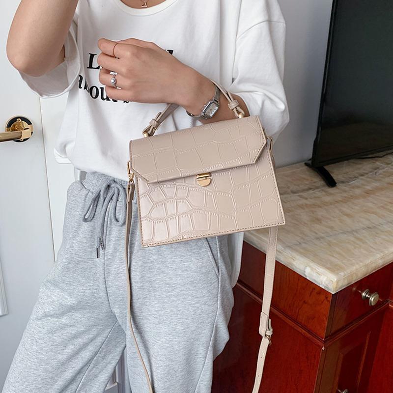 Qualidade Pu Leather Bags Bandoleira For Women 2020 Padrão de pedra pequeno Mulheres Flap Bag Lady Messenger Bag Ombro Bolsas Sac