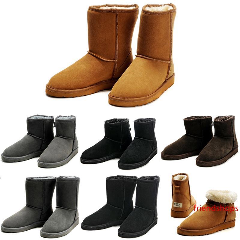 2020 Nuevas botas de nieve de invierno Australia Classic Short Half Mini Tobillo Rodilla hombres de arranque Negro Castaño Gris Marrón para hombre botines 42-45 zapatos zapatos