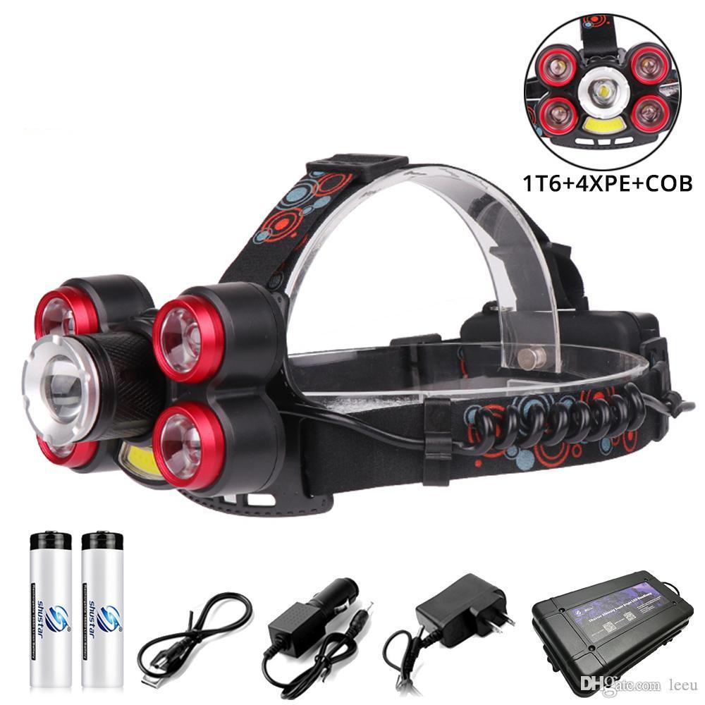Glare LEDs Zoomable Headlight 1T6 + + 4XPE COB conduit talon lampe d'éclairage extérieur 5 modes de commutation Utilisation de la batterie 2x18650