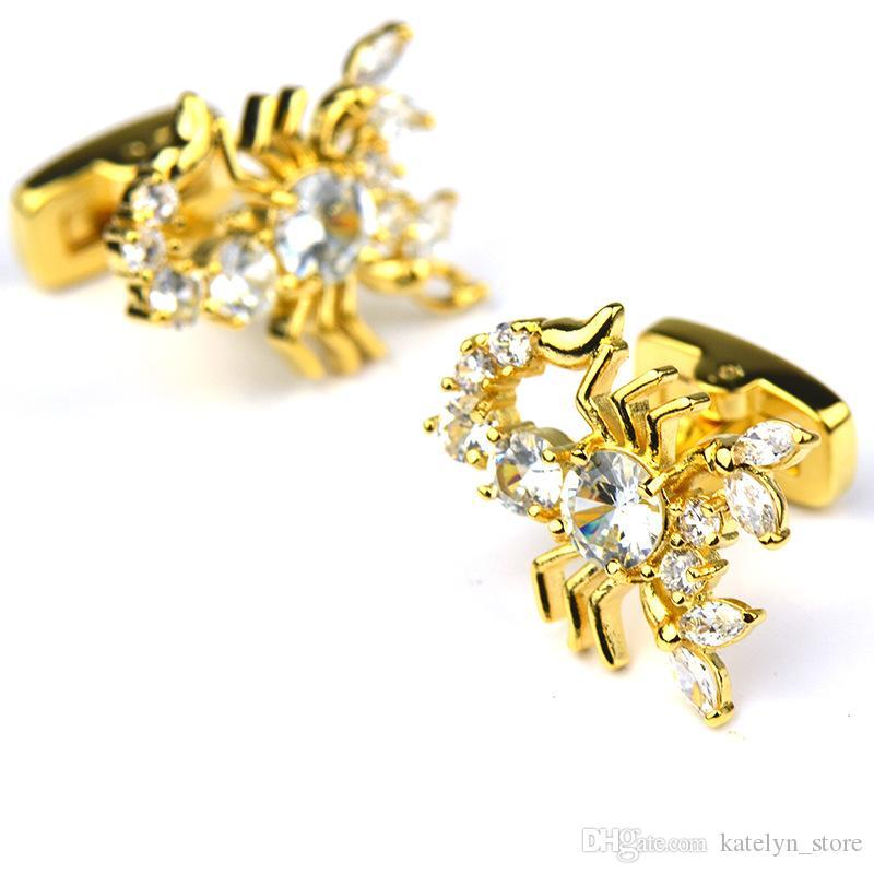 Golden Cufflink with White Crystal Cufflink