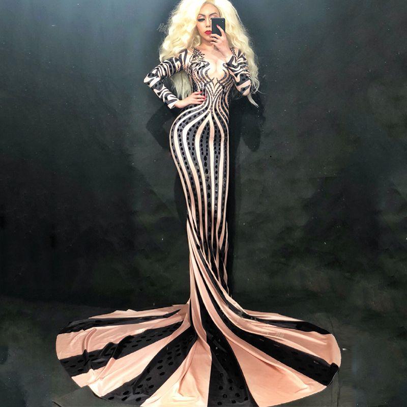 Fashion Beyonce Pailletten Strass Kleid Frauen Dj Kostüm Prom Party Stage Jazz-Tanz-Kostüm-reizvolles Abend-dünnes Kleid DL2271