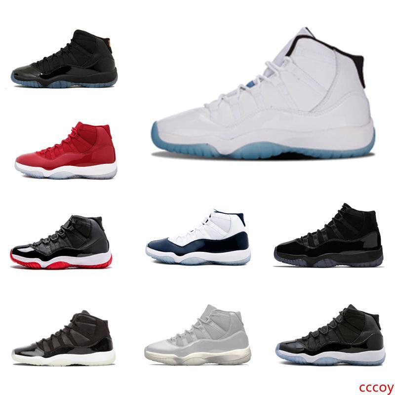 Différentes couleurs de l'université Bleu 11 11s Chaussures de basket-ball Hommes Femmes 11s Space Jam Gym rouge minuit marine Gamma Bleu Sneakers 7-13 Avec