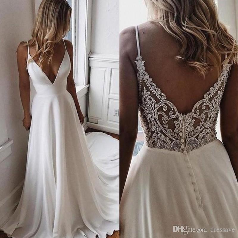 V Neck Chiffon A Line Boho Beach Wedding Dresses 2020 Beaded Applique Formal Bridal Gowns Cheap Custom Bride Dress Vestidos De Novia