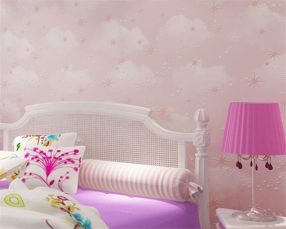 깊은 PAPEL 드에서 Parede 벽지 어린이 침실 아기 방 벽지 핑크 푸른 하늘 흰 구름 스타 엠보싱