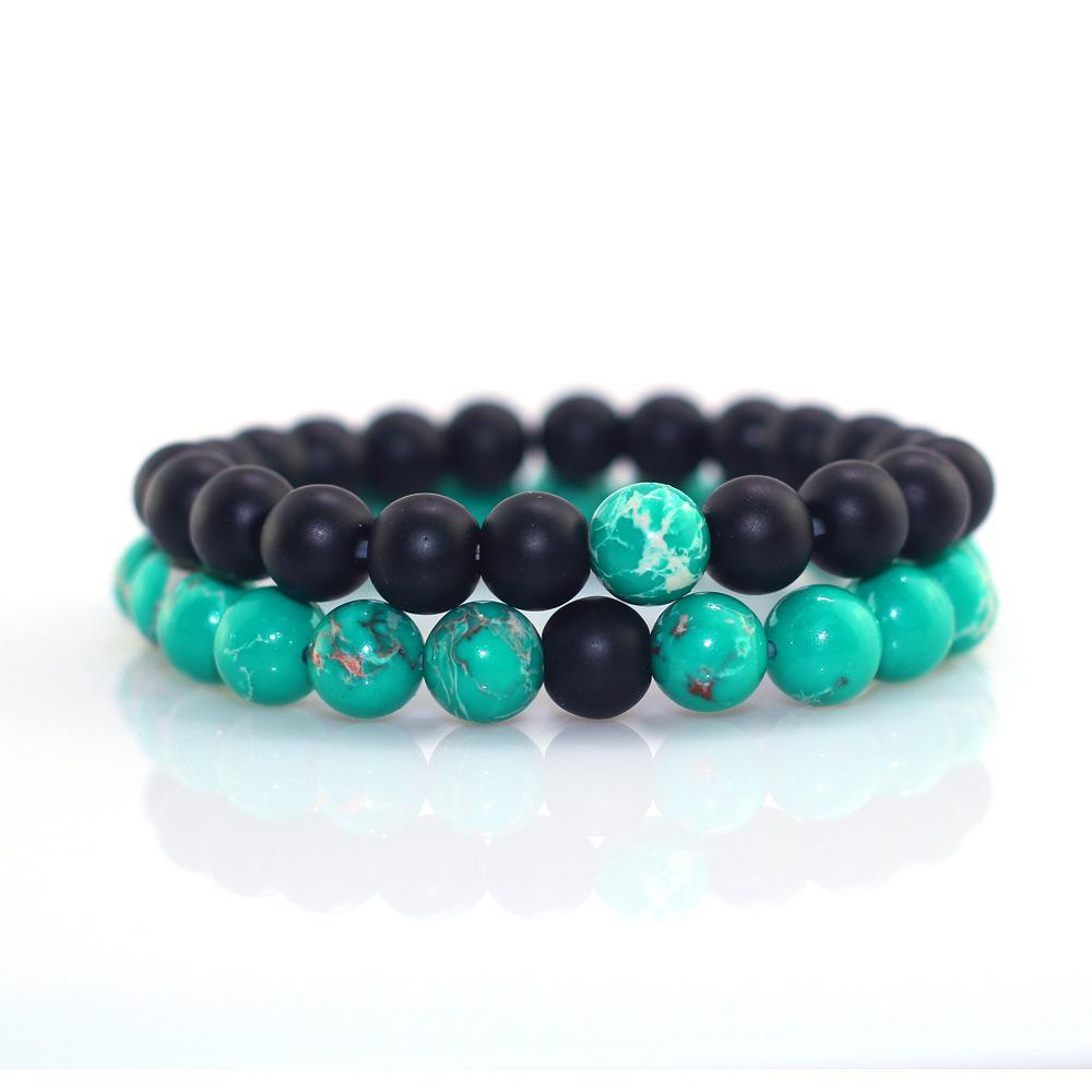 Danjie 8MM Hommes Femme Perle Bracelet de perles BlackGreen prière Bracelet perles pour femmes et hommes Pulseras Masculina